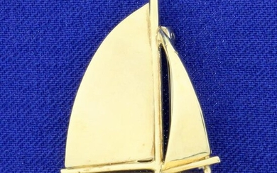 Sailboat Pin In 14K Yellow Gold
