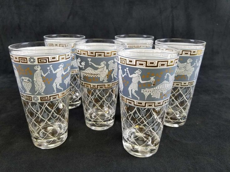 Set of 6 Greek Revival Wedgewood Blue And Gold HighBall