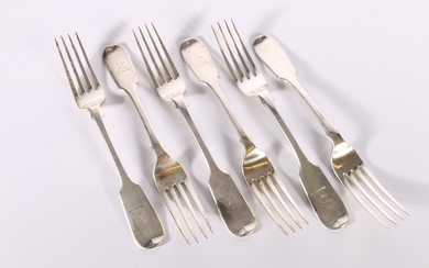 Set of six Victorian silver table forks of fiddle pattern by...