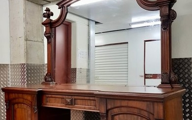 Sideboard, Buffet with mirror (270 cm) - Victorian - Mahogany - Late 19th century