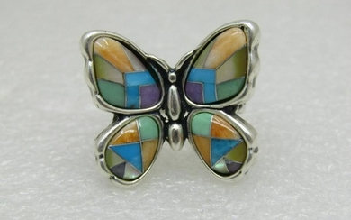 Sterling Mariposa Inlaid Butterfly Ring, Carolyn