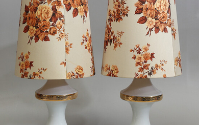 TABLE LAMPS, a pair, glass, 1960/70s.