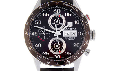TAG HEUER - a gentleman's stainless steel Carrera Calibre 16 chronograph wrist watch.