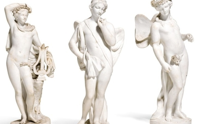 THREE SEVRES WHITE BISCUIT MYTHOLOGICAL FIGURES OF CUPID AND PSYCHE AND A FIGURE OF APOLLO, 18TH CENTURY