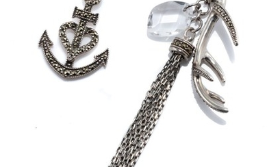 TWO STERLING SILVER MARCASITE SET PENDANT NECKLACES; Victorian style anchor your heart to the lord, the other with antler, chain tas...