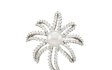 Tiffany & Co. Platinum, Cultured Pearl and Diamond 'Fireworks' Brooch