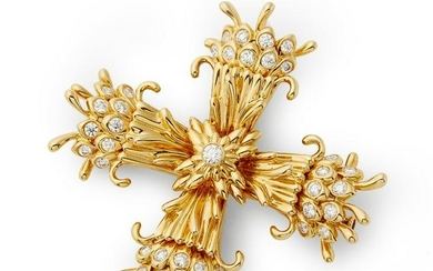 Tiffany & Co. - an 18ct gold and diamond brooch.