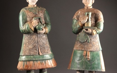 Two large Chinese tomb figures, Ming (2)