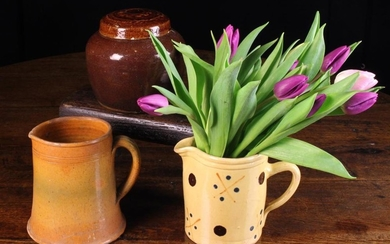 Two 19th Century French Pottery Jugs and a Lidded Jar.