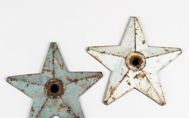 "Two Blue-painted Cast Iron Building ""Stars,"""