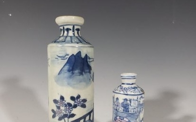 Two Chinese Blue and White Porcelain Snuff Bottle
