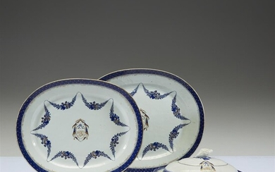 Two Chinese export porcelain graduated oval platters and a...