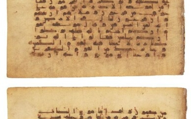 Two Kufuc Qur'an folios, Near East or...
