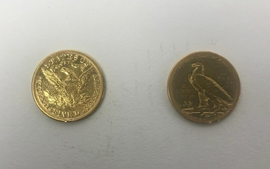 Two US Five Dollar Gold Coins