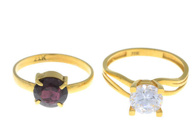 Two gem-set rings.