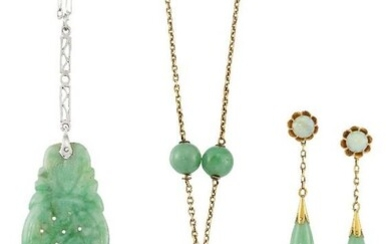 Two jade pendent necklaces and a pair...