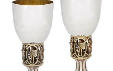Two limited edition commemorative silver chalices, London,...