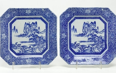 Two square china porcelain dishes