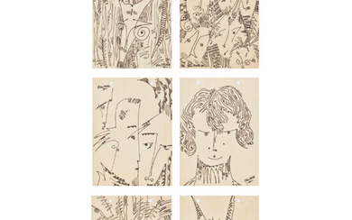 Uche Okeke Nigerian 1933–2016 Oja Suite, six 1962 pen and ink on paper each signed and dated; each inscribed with the respective tit...