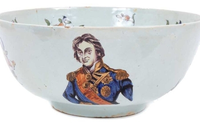 Unusual polychrome Delft ware bowl, commemorating Nelson, with ship and floral decoration, 29cm diameter