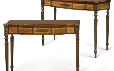 VERY FINE AND RARE PAIR OF FEDERAL INLAID AND FIGURED MAHOGANY, BIRCHWOOD AND ROSEWOOD GAMES TABLE, ATTRIBUTED TO THOMAS AND OR JOHN SEYMOUR, BOSTON, MASSACHUSETTS, CIRCA 1795