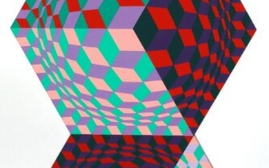 VICTOR VASARELY ACRYLIC ON WOOD PANEL