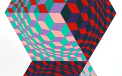 """VICTOR VASARELY (HUNGARY, 1906-97), ACRYLIC ON WOOD PANEL, H 27"""", W 16"""", """"KETTES"""""""