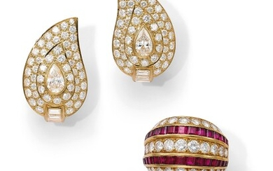 Van Cleef & Arpels, A Diamond and Ruby Ring and A Pair of Diamond Earrings