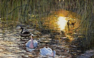 Veronica Johnstone, British, late 20th century- Evening glow; oil on...