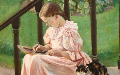 Viggo Pedersen: View with a young girl doing her homework in the garden. Signed and dated Viggo Pedersen 1898. Oil on panel. 54×45 cm.