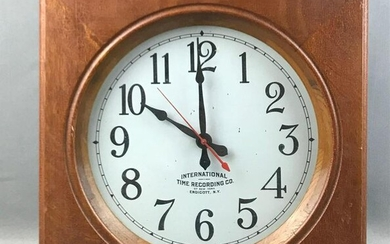 """Vintage """"International Time Recording Company"""" Wooden"""