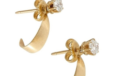 """Vintage yellow gold and Old European cut diamond stud earrings and jackets each: 3/16""""w x 11/16""""h"""