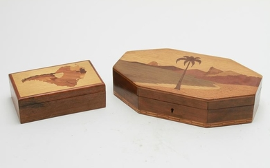 Wood Marquetry Covered Boxes, 2