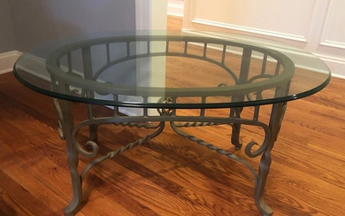 Wrought Iron & Glass Coffee Table, RA8A