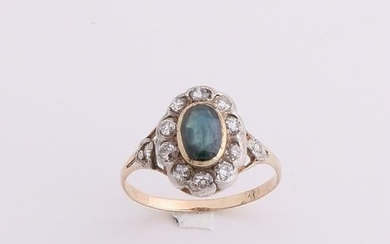 Yellow gold ring rosette, 585/000, sapphire and