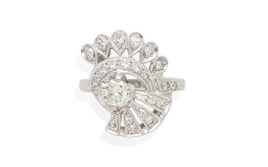 a 14k white gold and diamond ring