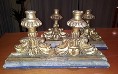 candlesticks in carved and gilded wood (2) - Wood - First half 18th century