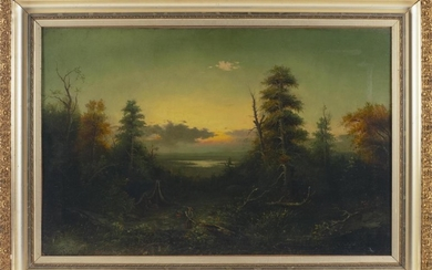 """AMERICAN SCHOOL, 19th Century, Brilliant sunset over the wilderness,, Oil on canvas, 26"""" x 40"""". Framed 34"""" x 48""""."""