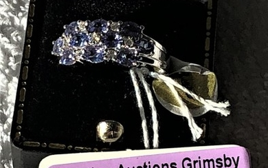 14ct white gold tanzanite and diamond cluster ring size N we...