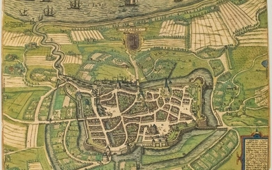 1588 Braun and Hogenberg View of Stade, Germany --