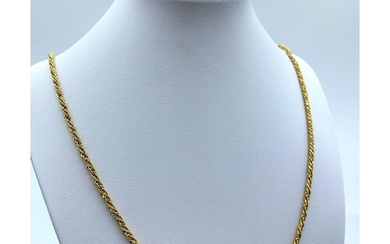 18ct Yellow Gold Solid Twist Decorative Necklace. 26.7g 78cm