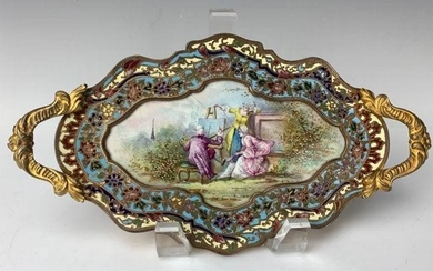 19TH C. FRENCH SEVRES AND CHAMPLEVE ENAMEL TRAY