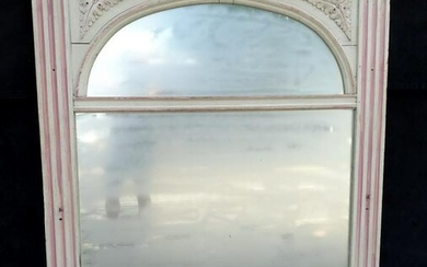 "19TH C. PAINT DECORATED OVER MANTEL MIRROR60""H 55.5""L"