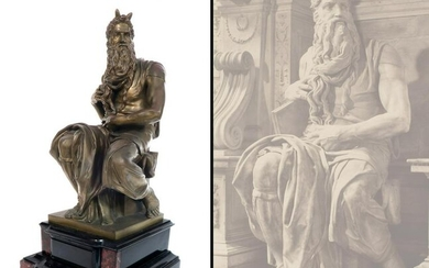 """19th C. Bronze Figure of The Seated Moses, Signed """"F."""