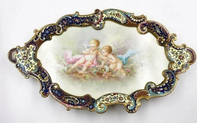 19th C. French Champleve Enamel Tray