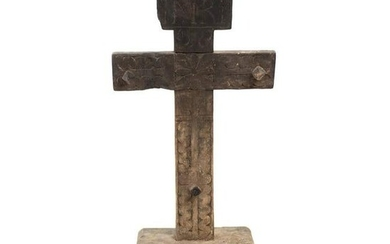 19th C Mexican Mesquite Carved Wooden Cross