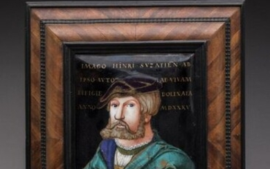 19th century GERMAN school Portrait of Heinrich Aldegrever (1502-c.1555/1561) Large rectangular plate in curved copper painted with polychrome enamels. Reddish counter-enamel. Caption in the upper part, framing the face, gold letters: IMAGO . HINRI...