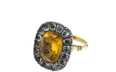 19th gold and silver ring with quartz