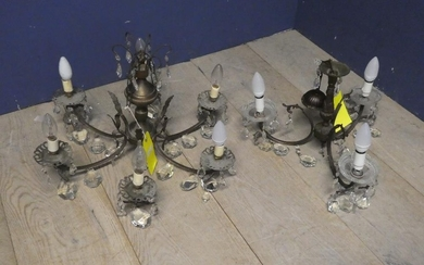 2 Chandeliers 40H x 58D & 30H x 45D cm from glass works fact...