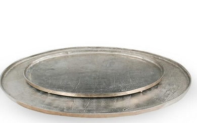 (2 Pc) Silver Toned Oval Serving Trays
